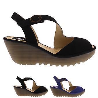 Naisten lentää Lontoon Yamp Cupido Peep Toe Strappy leikattu kiila sandalit