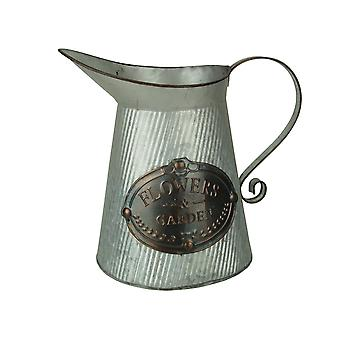 Ribbed Metal Antiqued Flowers and Garden Decorative Pitcher Vase
