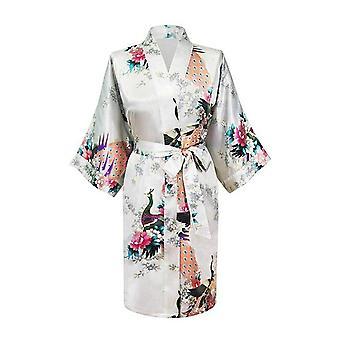 Moda donna pavone nuziale damigella d'onore kimono abito di raso