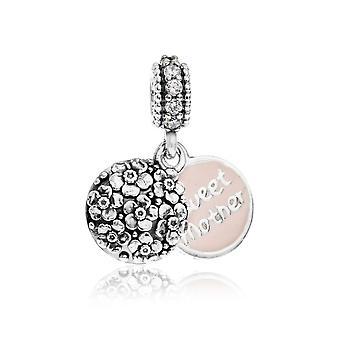 Pandora söt mor silver, rosa emalj & klar CZ hängande charm 791285CZ