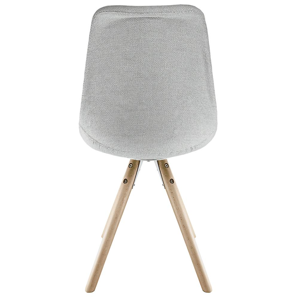 Fusion Living Eiffel Inspired Light Grey Fabric Dining Chair With Pyramid Light Wood Legs