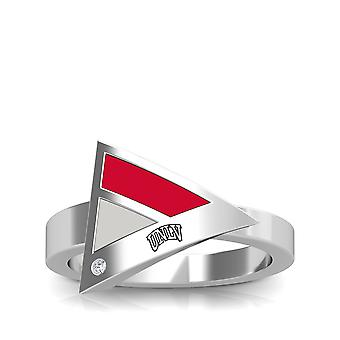University Of Nevada Las Vegas Engraved Sterling Silver Diamond Geometric Ring In Red and Grey