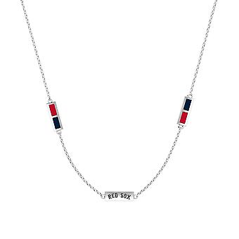 Boston Red Sox Sterling Silver Engraved Triple Station Necklace In Red and Blue