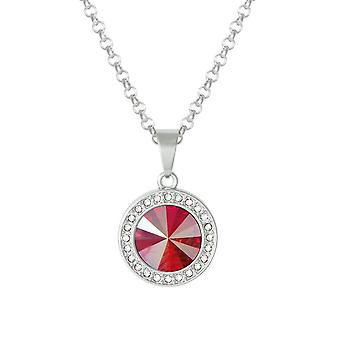 Eternal Collection Viva Red Shimmer Austrian Crystal Silver Tone Pendant