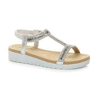 Ajvani slingback sandálias da t-barra da womens Cunha baixa calcanhar flatform diamante