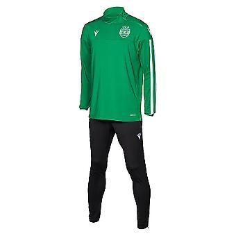 2019-2020 Sporting Lissabon macron spelare träningsoverall (grön)