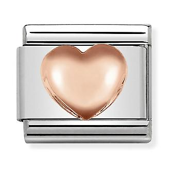 Nomination Classic Raised Heart Steel and 9k Rose Gold Link Charm 430104/22