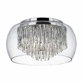 4 Light Flush Ceiling Light Chrome And Glass