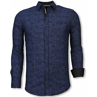 E Shirts - Slim Fit - Paisley Pattern - Blue
