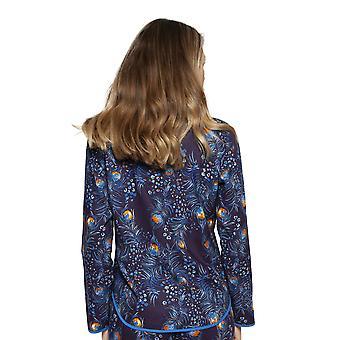 Cyberjammies 4228 Frauen's Sophie Tinte blau Mix Pfau Feder Druck Baumwolle Pyjama Top