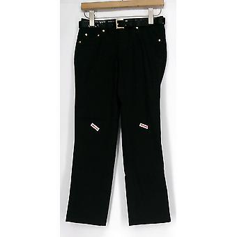 IMAN Petite Jeans XS Perfect Slim Fit  Faux Front Pockets Jet Black 363-178