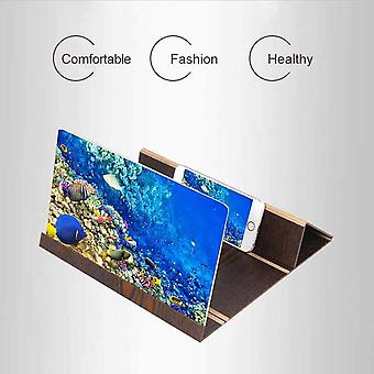 3D Phone Screen Magnifier Amplifier Foldable Wooden Stand Holder For Samsung Galaxy A20 6.4 (Brown)
