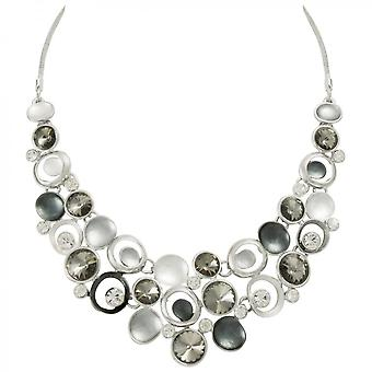 Eternal Collection Vivacious Silver Multi Enamel Crystal Silver Tone Statement Necklace