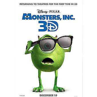 Monsters Inc 3D Re-Release Poster Double Sided Advance (2012) Original Cinema Poster