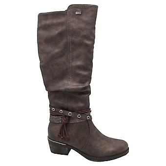 Remonte Brown Long Boot Ojal Ojal Detalle Tex