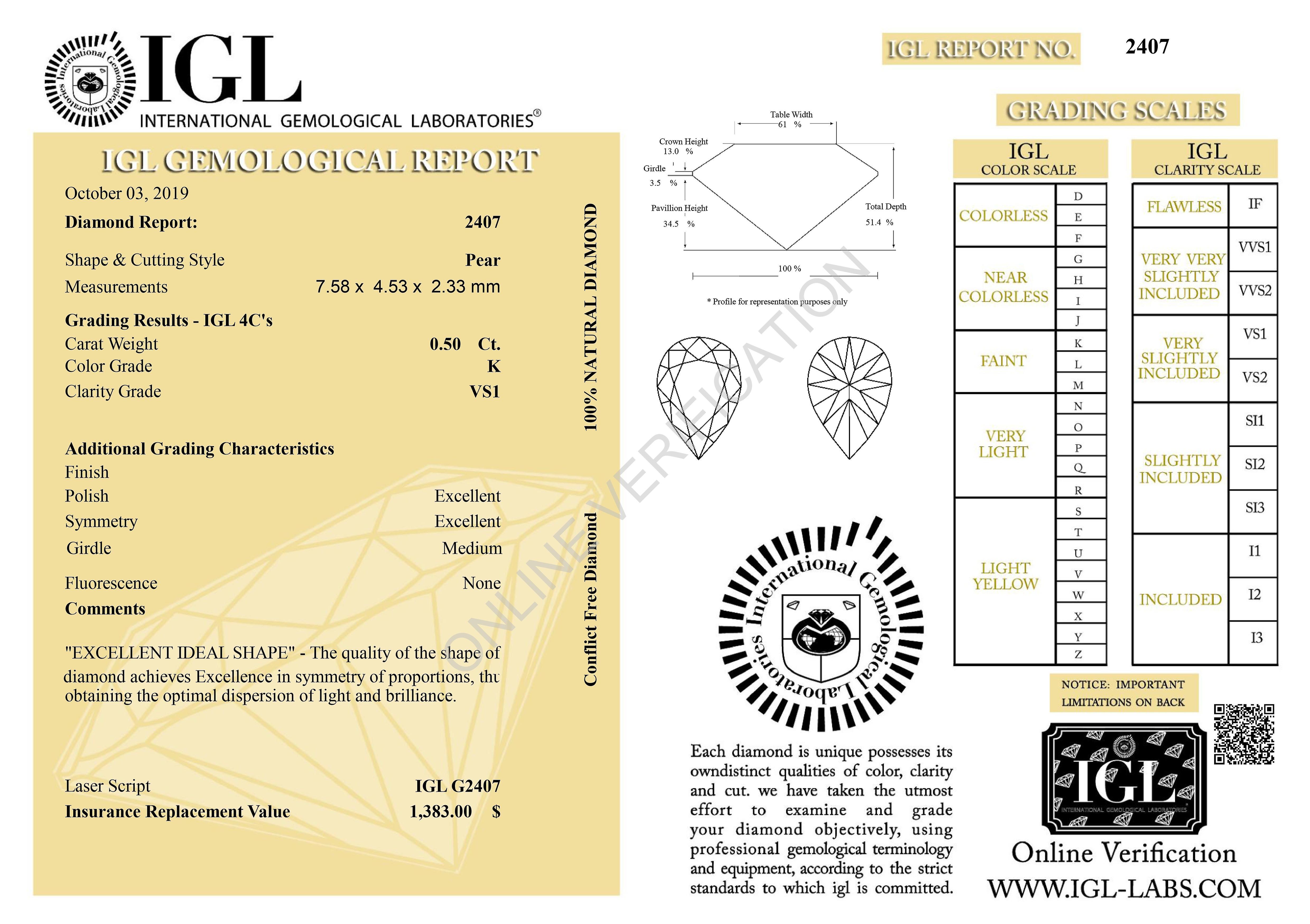 Certified 0.50 Carat K Color VS1 Pear Shape Natural Loose Diamond 7.58x4.53m 2EX