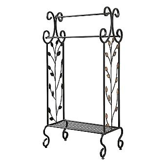 Gold Leaves Metal Towel Rack Stand With Shelf, Black