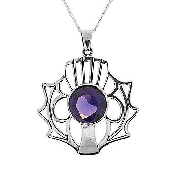 Scottish Thistle Necklace Pendant Large - - Amethyst Colour Stone - Includes a 20
