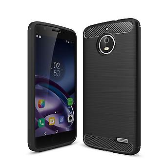 Motorola Moto E4 TPU case carbon fiberoptik borstad skyddande fodral svart
