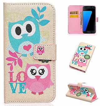 Fall för Samsung Galaxy S7 Blue Owls mönster och ros