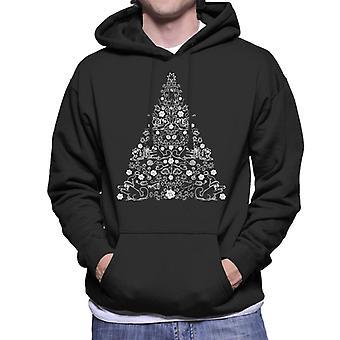 Simon's Cat Christmas Tree Pattern Men's Hooded Sweatshirt