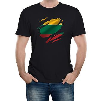 Reality glitch torn lithuania flag mens t-shirt