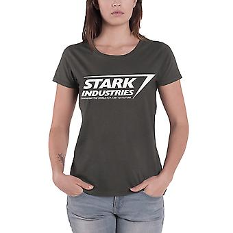 Iron Man T Shirt Stark Industries Logo Official Womens Charcoal Skinny Fit