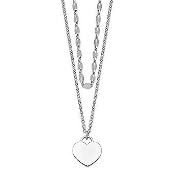 925 Sterling Silver Rhodium plated 2 strand Love Heart With 4in. Ext. Choker Necklace 13 Inch