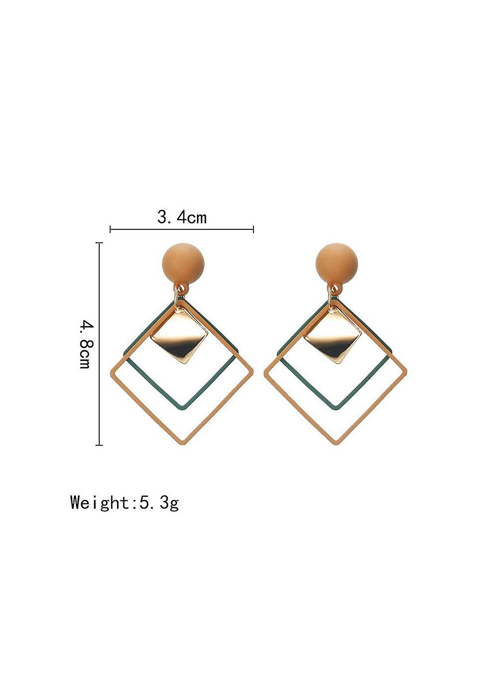 Square Hollow Drop Earrings - Brown and Blue