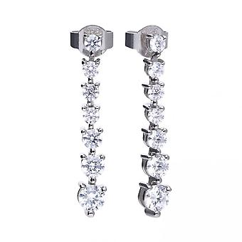 Diamonfire Silver & White Zirconia Claw Set Classic Stick Drop Earrings