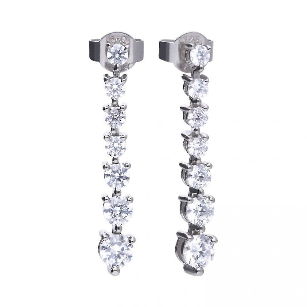 Diamonfire Silver & White Zirconia Claw Set Classic Stick Drop Earrings