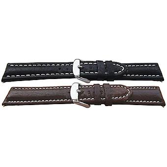 Premier buffalo grain watch strap heavy padded whited stitched milano