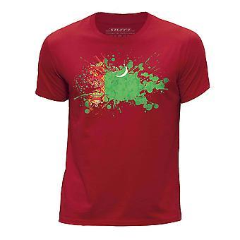 STUFF4 Pojan Pyöreä kaula T-paita/Turkmenistanin lippu Splat/punainen