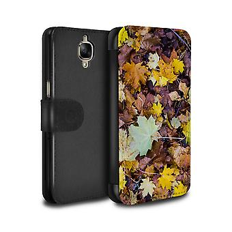 STUFF4 PU Leather Wallet Flip Case/Cover for OnePlus 3/3T/Leaves/Autumn Season