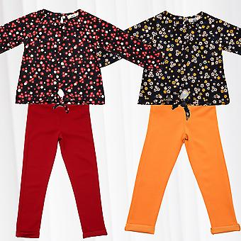 Girls Clothing Set Pants Sweater Longsleeve Shirt Combination Flower Outfit Set