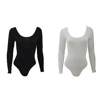 American Apparel női/női hosszú ujjú dupla U nyak pamut spandex bodysuit/Leotard