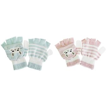 Childrens/Kids Cat Striped Gloves/Mittens With Glitter (1 Pair)