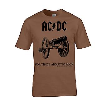 AC/DC Brown For Those About To Rock Official Tee T-Shirt Mens Unisex