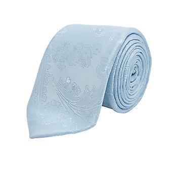 Dobell gutter lys blå Paisley uavgjort Satin føle stoff bryllup slips