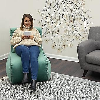 Loft 25� Scroll Style Aqua Velvet Bean Bag Lounger Chair