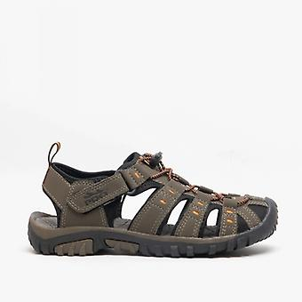 PDQ Ken Boys Nubuck Toggle & Velcro Summer Trail Sandals Dark Taupe/orange