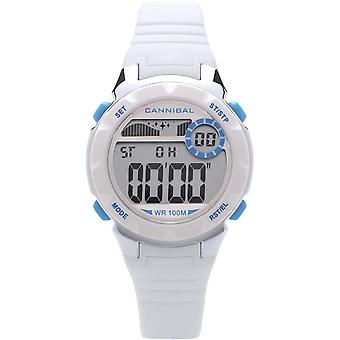 Cannibal Active Girl's Digital Chronograph White Rubber Strap Watch CD273-09