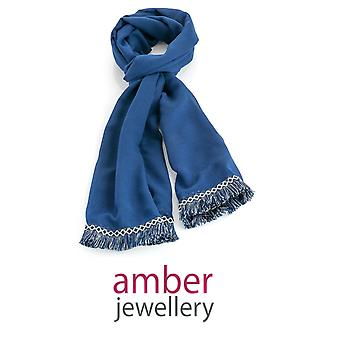 Amber Jewellery Navy Blue Embroidered Fringe Scarf (SC31026)