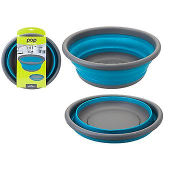 Summit POP 7L Large Collapsible Round Camping Bowl Outdoor Kitchen Utensils - Blue / Grey