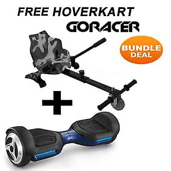 NEW - G PRO Blue Segway Hoverboard with a FREE Racer Hoverkart Bundle Choose your Colour Hoverkart (Choose Colour of Racer Hoverkart: Camo)