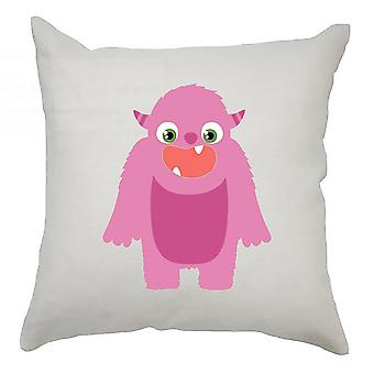 Monster Cushion Cover 40cm x 40cm - Pink Monster With Horns