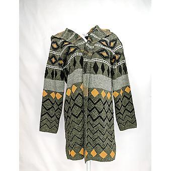 Serengeti Women's Printed Hooded Cardigan Long Sleeves Sweater Gray