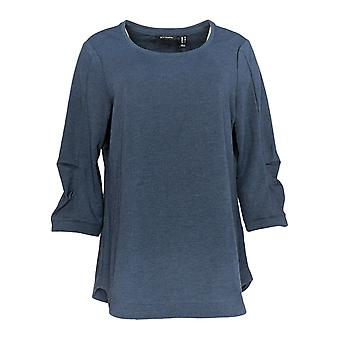 H By Halston Women's Top Scoop Neck Tunic 3/4 Pleated Sleeves Blue A352995