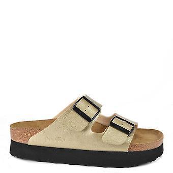Birkenstock Arizona Papillio Birko Flor Metallic Gold Platform Sandals