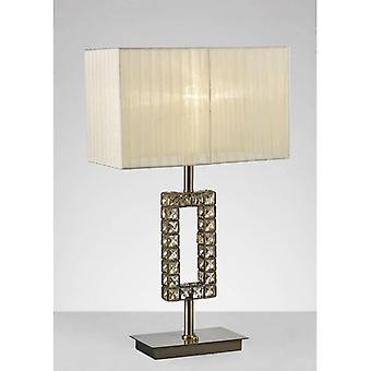 Florence Rectangle Table Lamp With Cream Shade 1 Bulb Antique Brass / Crystal